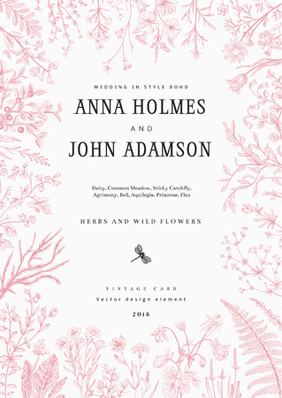 The frame of herbs and wild flowers. Wedding invitation in the style of boho. Vector vintage illustration.