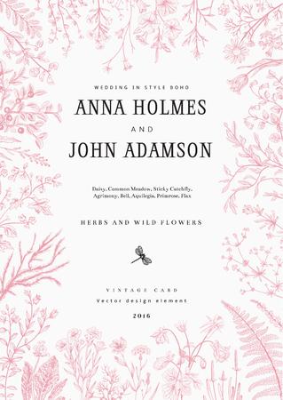 El marco de hierbas y flores silvestres. invitación de la boda en el estilo del boho. Ilustración del vector de la vendimia. Foto de archivo - 53275967