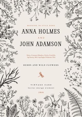 wedding: 藥材和野生花卉的框架。在波西米亞風格的婚禮請柬。矢量插圖復古。黑與白