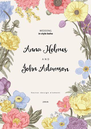 wedding invitation vintage: Wedding invitation. Spring Flowers. Poppy, anemones, peony. Vintage botanical illustration. design element. Pastel color Illustration