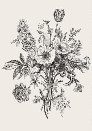 amapola: ramo victoriano. Flores de primavera. Amapola, anémonas, tulipanes, espuela de caballero. Ejemplo botánico de la vendimia. elemento de diseño. En blanco y negro. Grabado