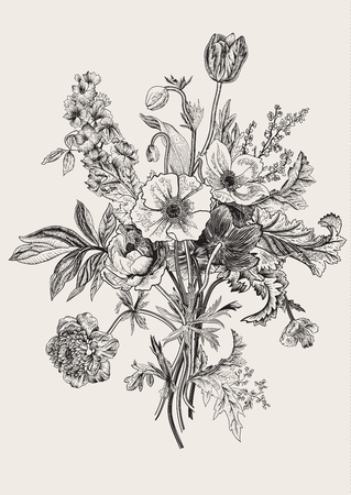 tulipan: Victorian bukiet. Wiosenne kwiaty. Poppy, zawilce, tulipany, Delphinium. Archiwalne ilustracji botanicznej. element projektu. Czarny i biały. Rytownictwo