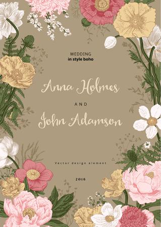 Hochzeitseinladung. Frühlingsblumen. Mohn, Anemonen, Pfingstrose. Vintage botanische Illustration. Design-Element.