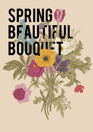 poppy: Victorian bouquet. Spring Flowers. Poppy, anemones, tulips, delphinium. Vintage botanical illustration. design element.