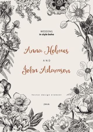 Wedding invitation. Spring Flowers. Poppy, anemones, peony. Vintage botanical illustration. design element. Black and white