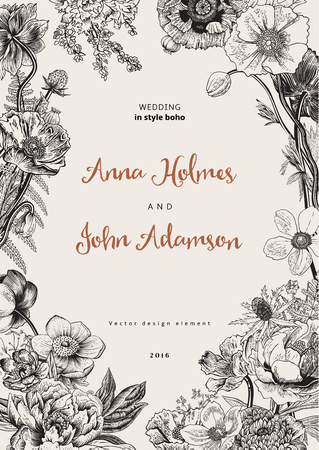 amapola: Invitación de boda. Flores de primavera. Amapola, anémonas, peonía. Ejemplo botánico de la vendimia. elemento de diseño. En blanco y negro