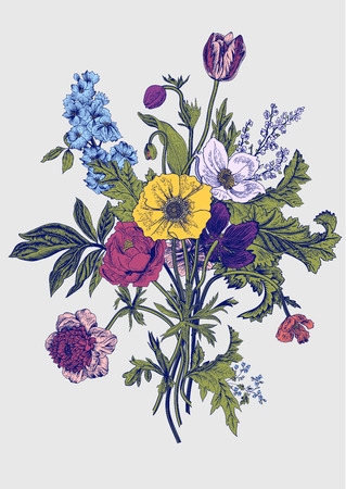 anemones: Victorian bouquet. Spring Flowers. Poppy, anemones, tulips, delphinium. Vintage botanical illustration. design element.