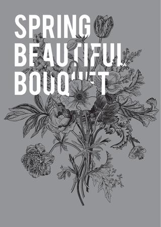 botanical gardens: Victorian bouquet. Spring Flowers. Poppy, anemones, tulips, delphinium. Vintage botanical illustration.design element.