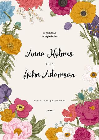 結婚式の招待状。春の花。ポピー、アネモネ、牡丹。ヴィンテージ植物イラスト。デザイン要素。