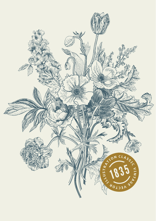 tulip: Victorian bukiet. Wiosenne kwiaty. Poppy, zawilce, tulipany, Delphinium. Archiwalne ilustracji botanicznej. element projektu.
