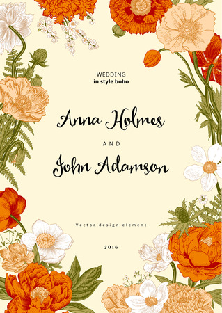 Wedding invitation. Spring Flowers. Poppy, anemones, peony. Vintage botanical illustration. design element.