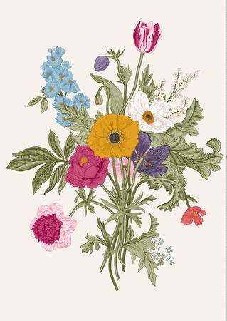 ビクトリア朝の花束。春の花。ポピー、アネモネ、チューリップ、デルフィ ニウム。ヴィンテージ植物イラスト。デザイン要素。