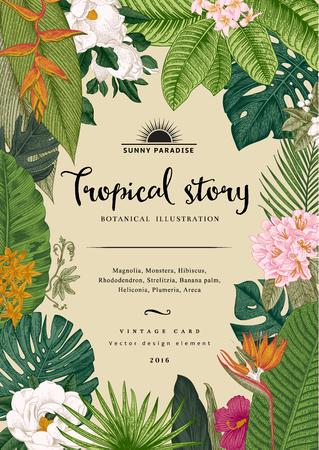 vintage card. Botanical illustration. Tropical flowers and leaves. Illustration