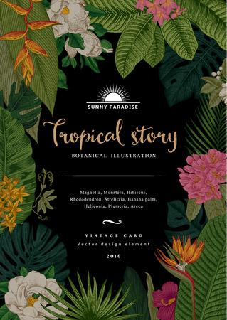 Vintage botanical illustration. Tropical flowers and leaves.  イラスト・ベクター素材