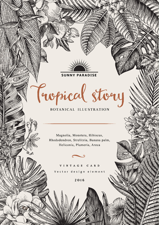 vintage card botanical illustration Illustration