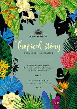 ビンテージ カード ボタニカル イラスト。熱帯の花と葉。 写真素材 - 59921650
