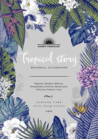 ビンテージ カード ボタニカル イラスト。熱帯の花と葉。 写真素材 - 59921651