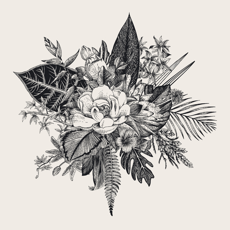 Bouquet of exotic flowers. Vintage vector illustration. Black and white Çizim