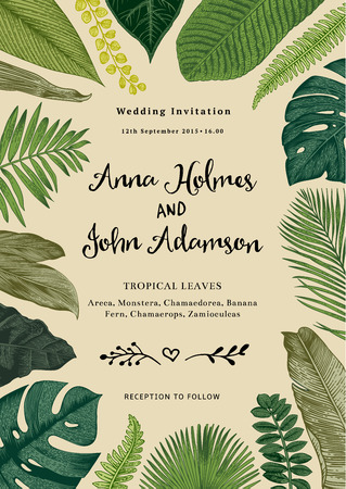 Vector vintage card. Wedding invitation. Botanical illustration. Tropical leaves.