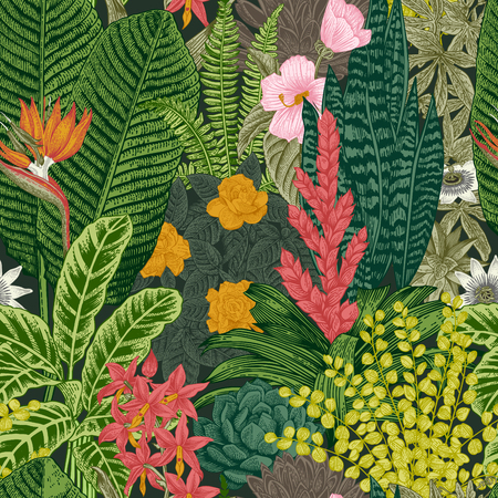 Vector seamless vintage pattern. Exotic flowers and plants. Botanical classic illustration.