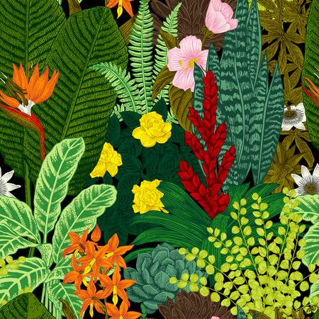 Vector seamless vintage pattern. Exotic flowers and plants. Botanical classic illustration. Reklamní fotografie - 64657526