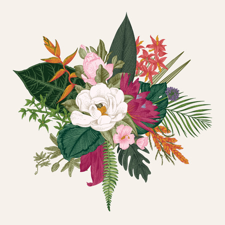 Bouquet of exotic flowers. Vintage vector illustration. Colorful