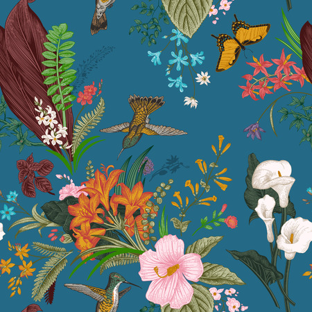 floral vintage: Vector seamless vintage floral pattern. Exotic flowers and birds. Botanical classic illustration. Colorful