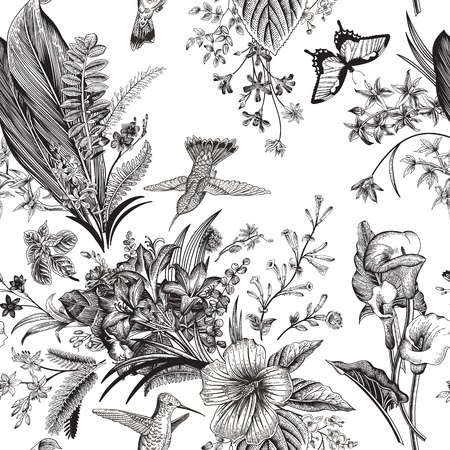 Vector seamless vintage floral pattern. Exotic flowers and birds. Botanical classic illustration. Black and white
