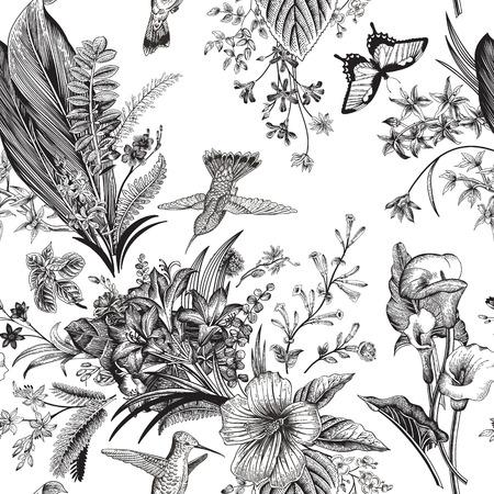 Modelo floral de la vendimia inconsútil del vector. flores y aves exóticas. clásica ilustración botánica. En blanco y negro
