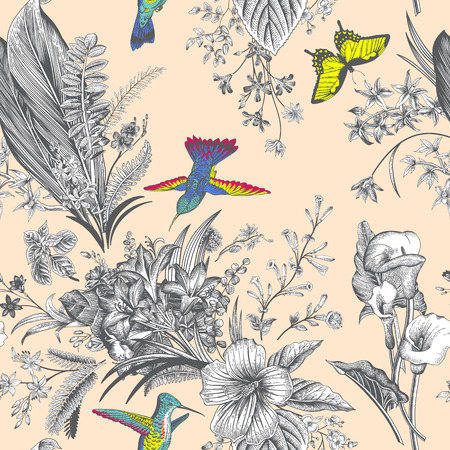 Modelo floral de la vendimia inconsútil del vector. flores y aves exóticas. clásica ilustración botánica. Vistoso
