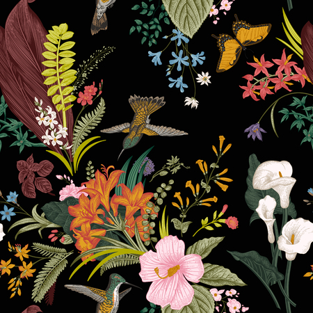 vintage floral: Vector seamless vintage floral pattern. Exotic flowers and birds. Botanical classic illustration. Colorful