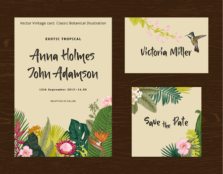 Set wedding printing. The invitation, guest card, save the date. Vintage vector botanical illustration. Exotic tropical leaves and flowers. Colorful Vektorové ilustrace