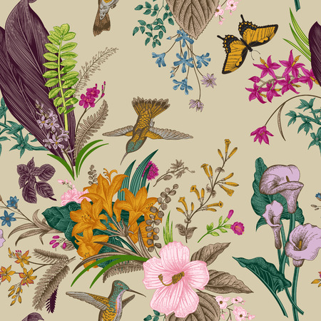 Vector seamless vintage floral pattern. Exotic flowers and birds. Botanical classic illustration. Colorful Reklamní fotografie - 64657532