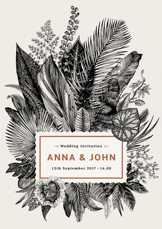 ベクトル ビンテージ カード。結婚式の招待状。植物のイラスト。熱帯の葉。黒と白。