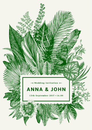 Vector vintage card. Wedding invitation. Botanical illustration. Tropical leaves. Green.
