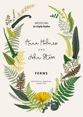 De krans van varens vertrekt. Huwelijksuitnodiging in de stijl van boho. Vector botanische vintage illustratie. Kleurrijk