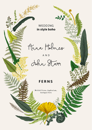 The wreath of ferns leaves. Wedding invitation in the style of boho. Vector botanical vintage illustration. Colorful