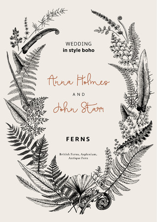 The wreath of ferns leaves. Wedding invitation in the style of boho. Vector botanical vintage illustration. Black and white 向量圖像