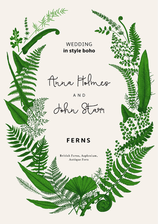 De krans van varens vertrekt. Huwelijksuitnodiging in de stijl van boho. Vector botanische vintage illustratie. Groen Stock Illustratie