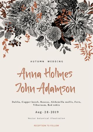結婚式の招待状。夏と秋の花。ダリア、ラスカス、ガマズミ属の木。