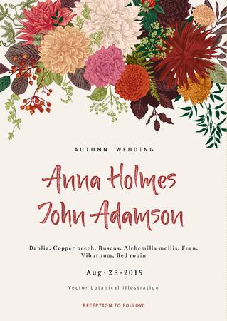 結婚式の招待状。夏と秋の花。ダリア、ラスカス、ガマズミ属の木。現代の植物誌研究。