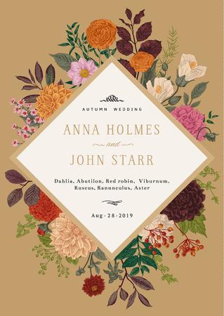 結婚式の招待状。カラフルな夏と秋の花は、ゴールドの背景です。ダリア、ラスカス、ガマズミ、ラナンキュラス。現代の植物誌研究。ベクトルの
