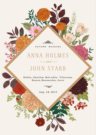 Wedding invitation. Summer and autumn flowers. Dahlias, Ruscus, Viburnum, Ranunculus. Modern floristics. Vector illustration. Colorful.