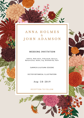 Wedding invitation. Summer and autumn flowers. Dahlias, Ruscus, Viburnum, Ranunculus. Modern floristics. Vector illustration. Colorful