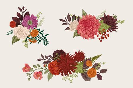 夏から秋にかけて、花の花束を設定します。ダリア、ラスカス、ガマズミ、ラナンキュラス。現代の植物誌研究。ベクトルの図。カラフルです