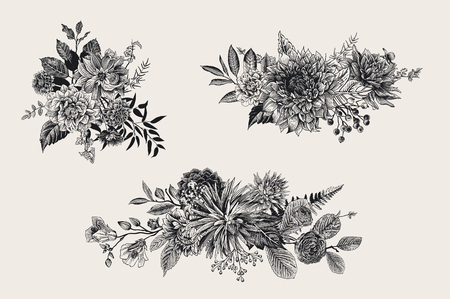 Summer and autumn set floral bouquets. Dahlias, Ruscus, Viburnum, Ranunculus. Modern floristics. Vector illustration. Black and white Illustration