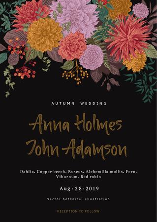Huwelijksuitnodiging. Zomer- en herfstbloemen. Dahlia's, Ruscus, Viburnum. Moderne floristiek. Vector illustratie.