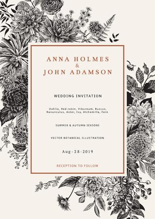 結婚式の招待状。秋の花、葉、果実。ダリア、ラスカス、ガマズミ、ラナンキュラス。現代の植物誌研究。ベクトルの図。黒と白