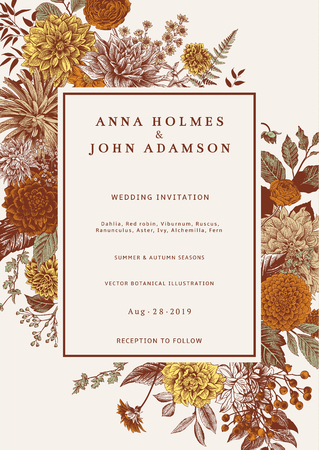 Wedding invitation. Autumn flowers, leaves and berries. Dahlias, Ruscus, Viburnum, Ranunculus. Modern floristics. Vector illustration. Иллюстрация