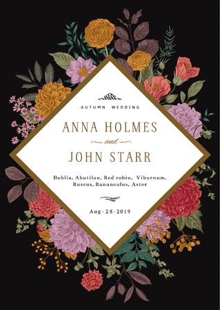 Wedding invitation. Summer and autumn flowers. Dahlias, Ruscus, Viburnum, Ranunculus. Modern floristics. Vector illustration. Vivid color